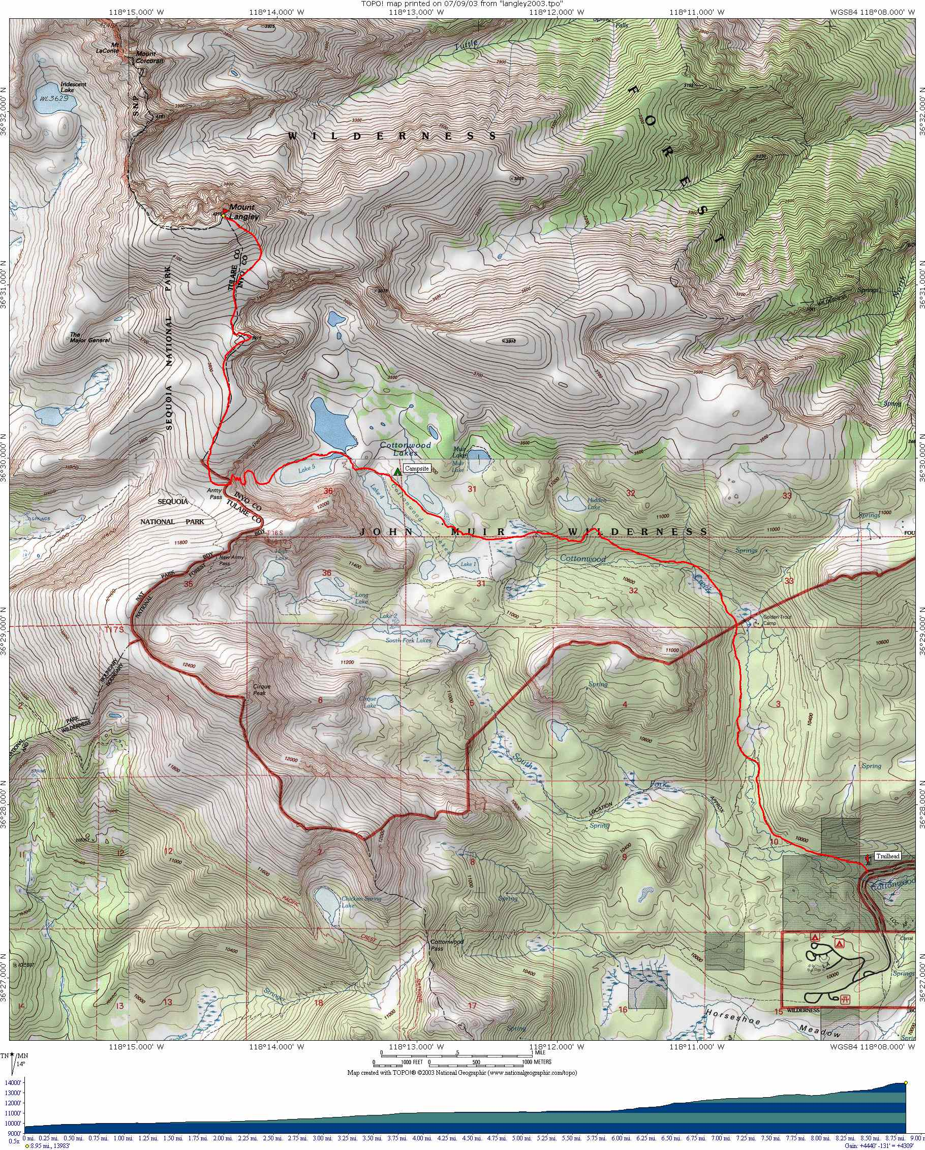 Tiocampo\'s Cottonwood Lakes-Mount Langley Ascent Map